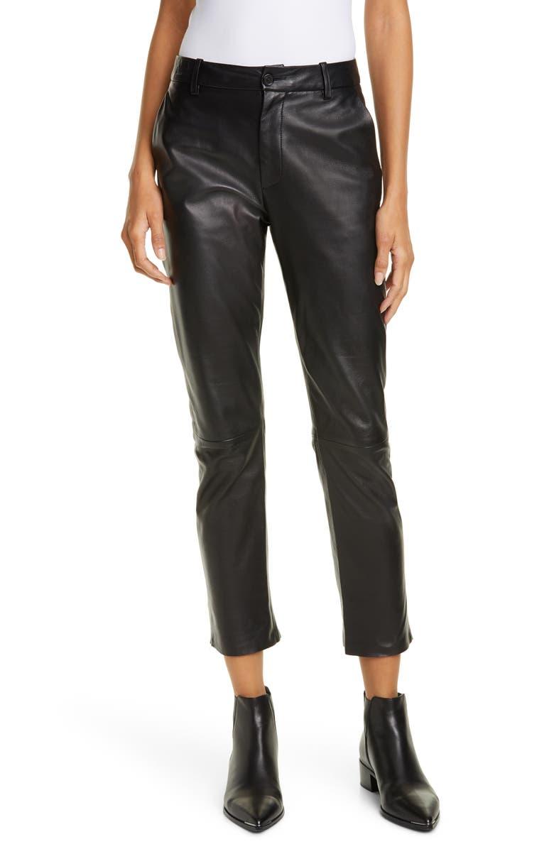 NILI LOTAN Montauk Leather Pants, Main, color, BLACK