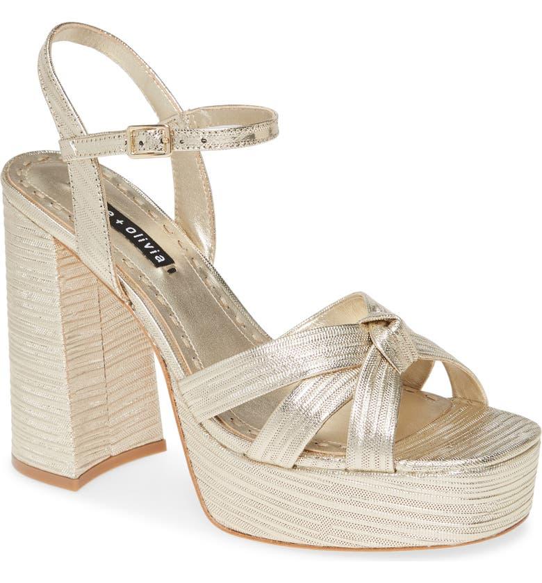 ALICE + OLIVIA Veren Metallic Platform Sandal, Main, color, LIGHT GOLD