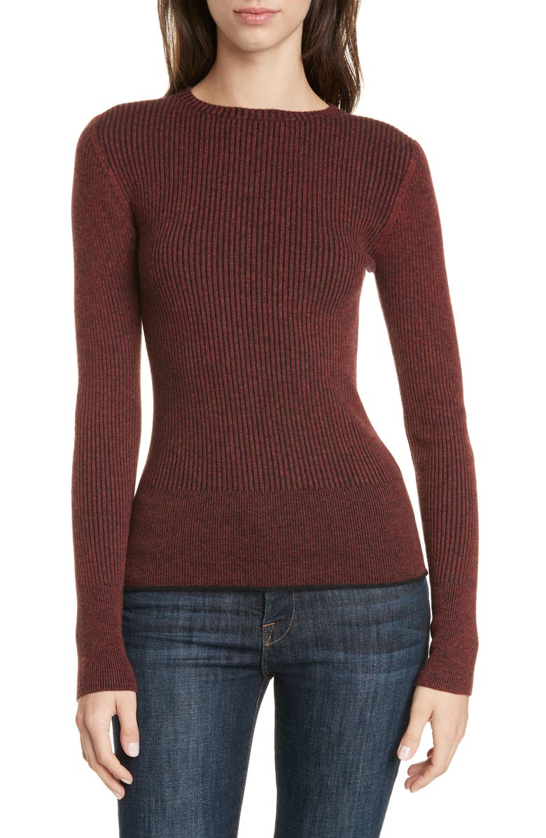 LEWIT Two Tone Rib Sweater, Main, color, BLACK- RUST HENNA COMBO