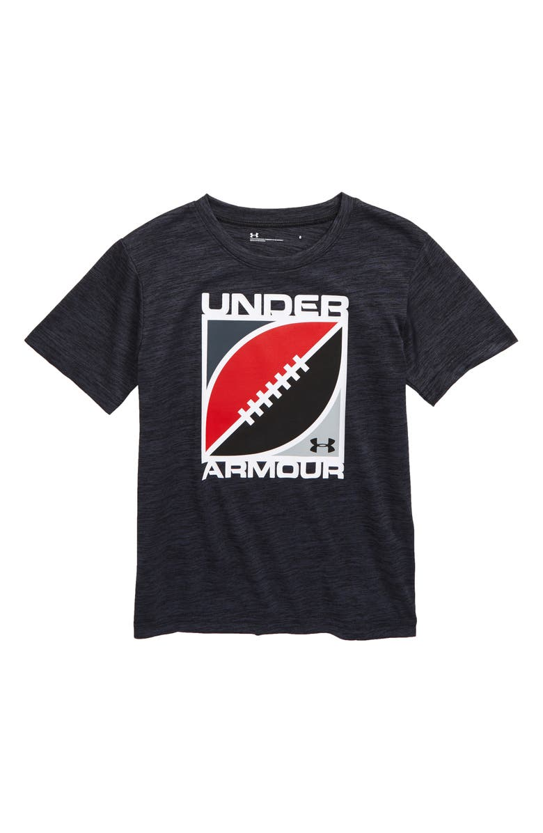 UNDER ARMOUR Football Twist HeatGear<sup>®</sup> T-Shirt, Main, color, WIRE/ BLACK TWIST