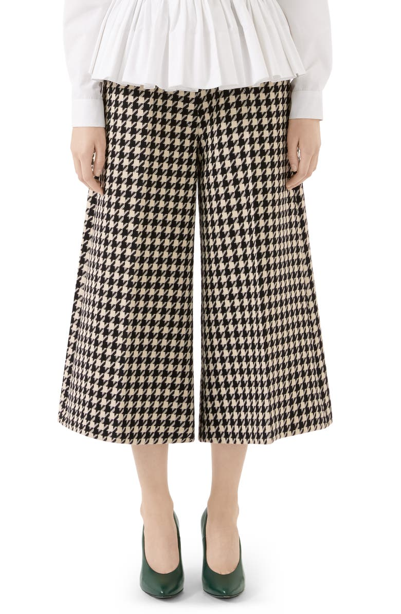 GUCCI Houndstooth Wool & Cotton Culottes, Main, color, BLACK/ BONE