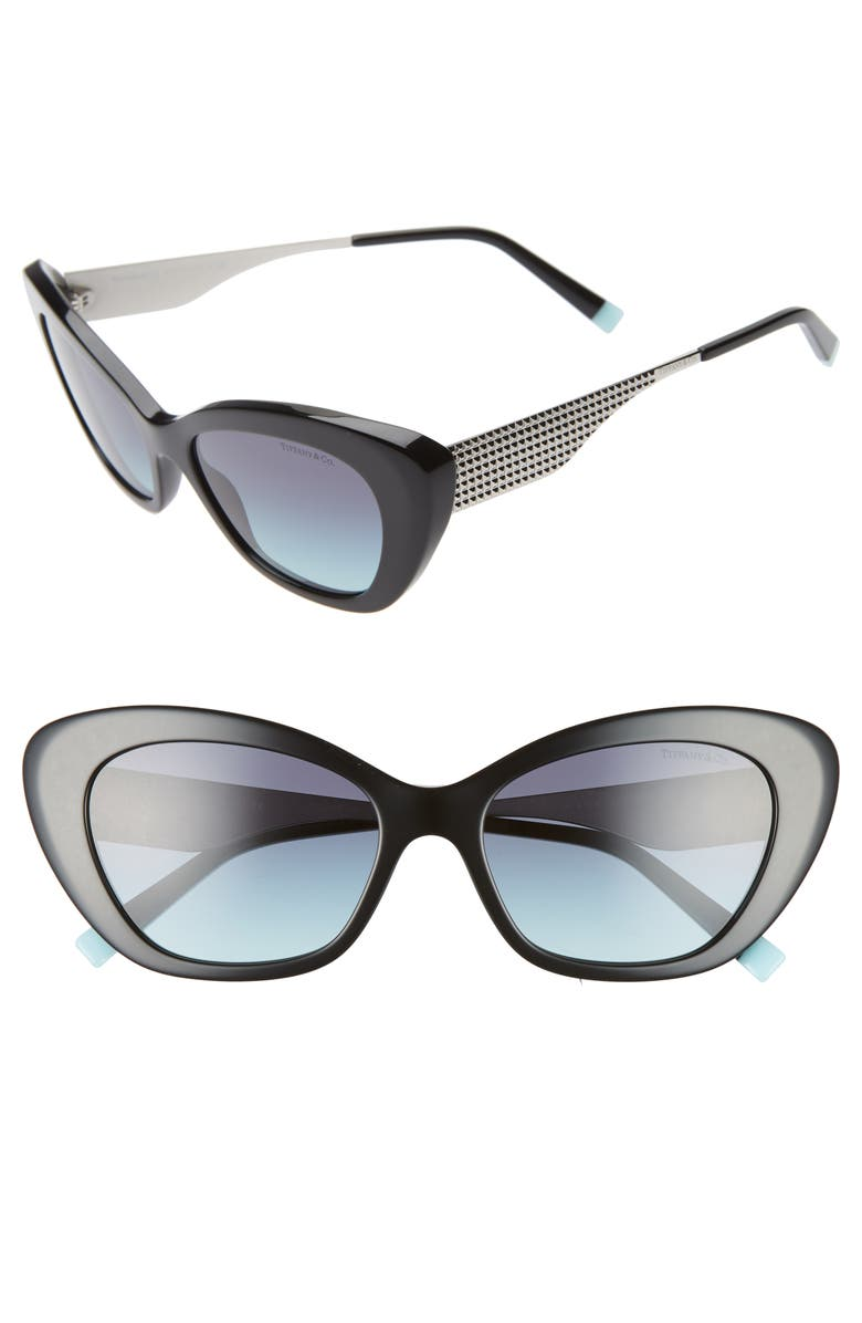 TIFFANY & CO. Diamond Point 54mm Gradient Cat Eye Sunglasses, Main, color, BLACK/ AZURE GRADIENT