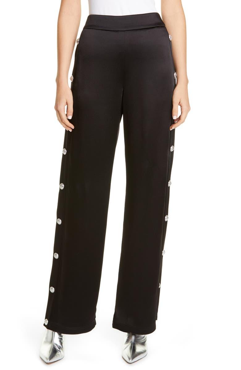BALMAIN Side Button High Waist Satin Track Pants, Main, color, NOIR