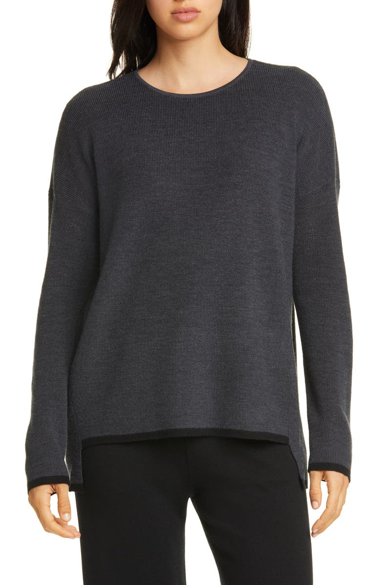 EILEEN FISHER Merino Wool Box Top, Main, color, CHARCOAL/ BLACK