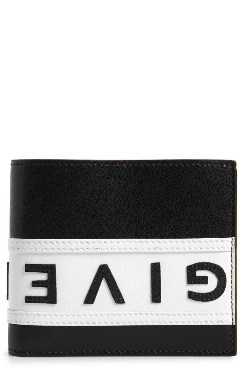 GIVENCHY Logo Band Leather Wallet, Main, color, BLACK/ WHITE