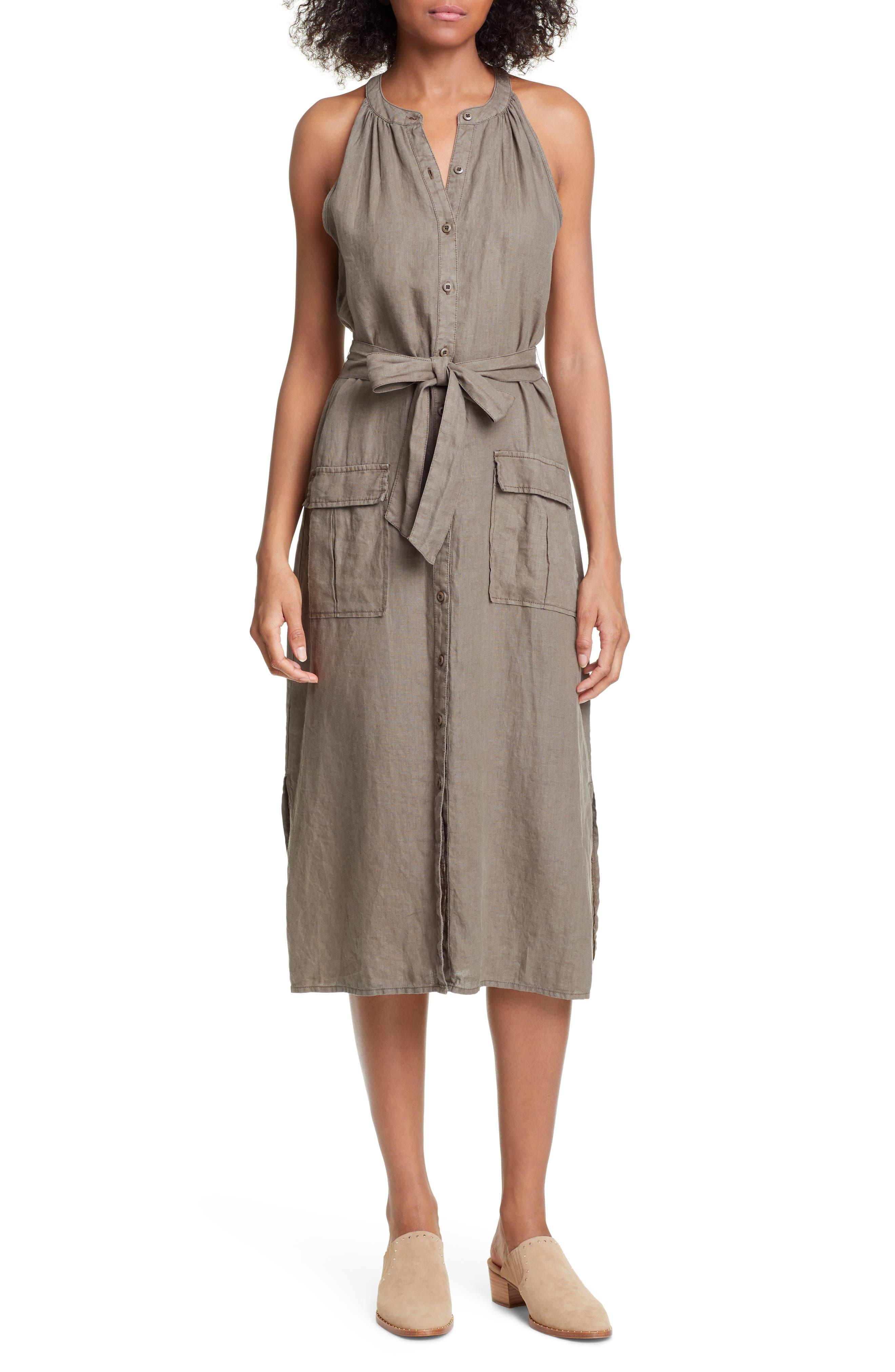 Joie Edelie Tie Waist Sleeveless Linen Dress, Green