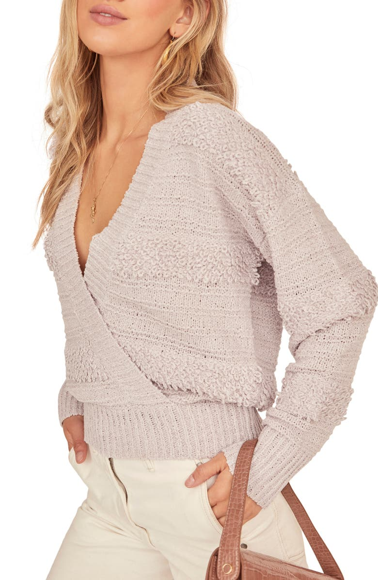 ASTR THE LABEL Madeline Wrap Front Mix Stitch Sweater, Main, color, 500
