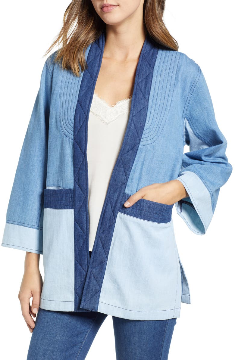 Denim Patchwork Open Front Cardigan by New Friends Colony