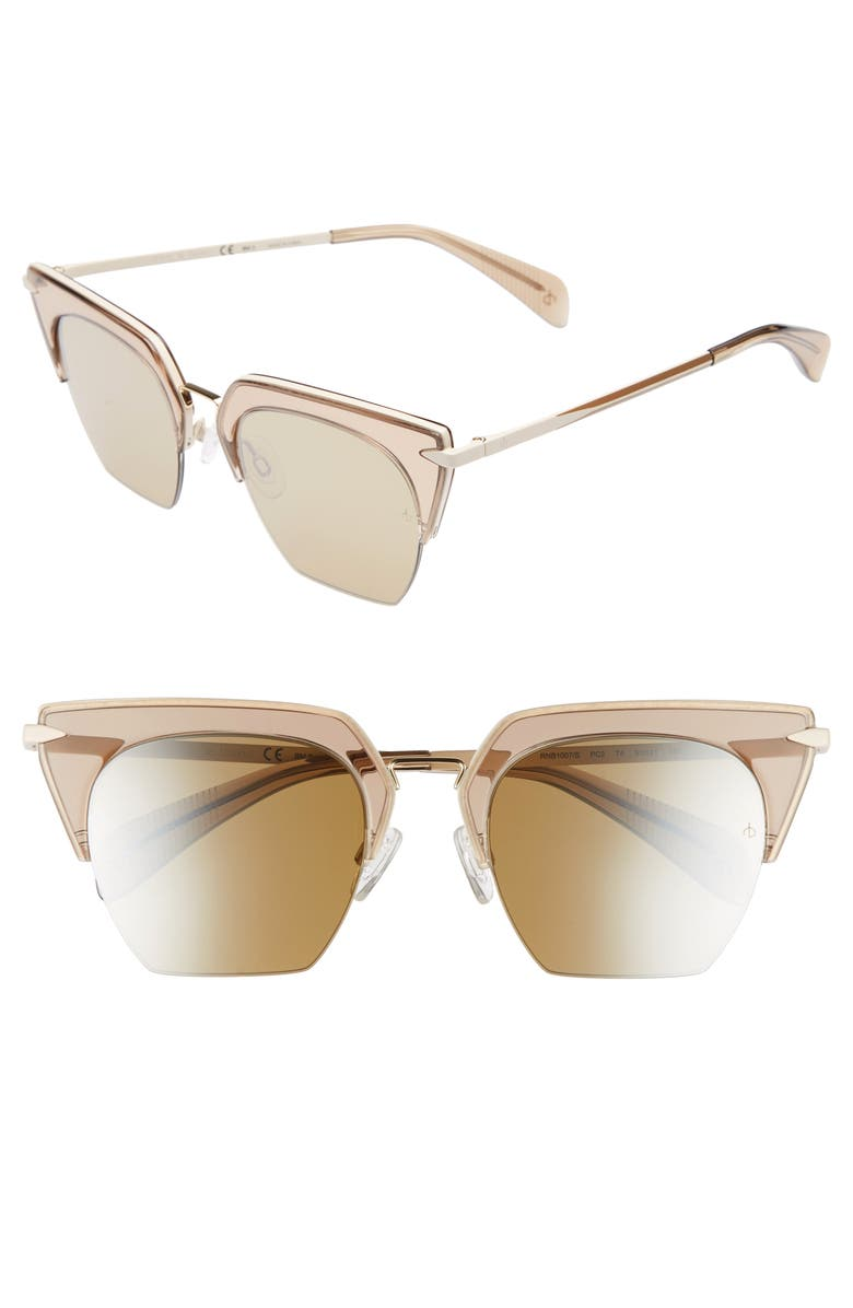 RAG & BONE 51mm Cat Eye Sunglasses, Main, color, OPAL BROWN