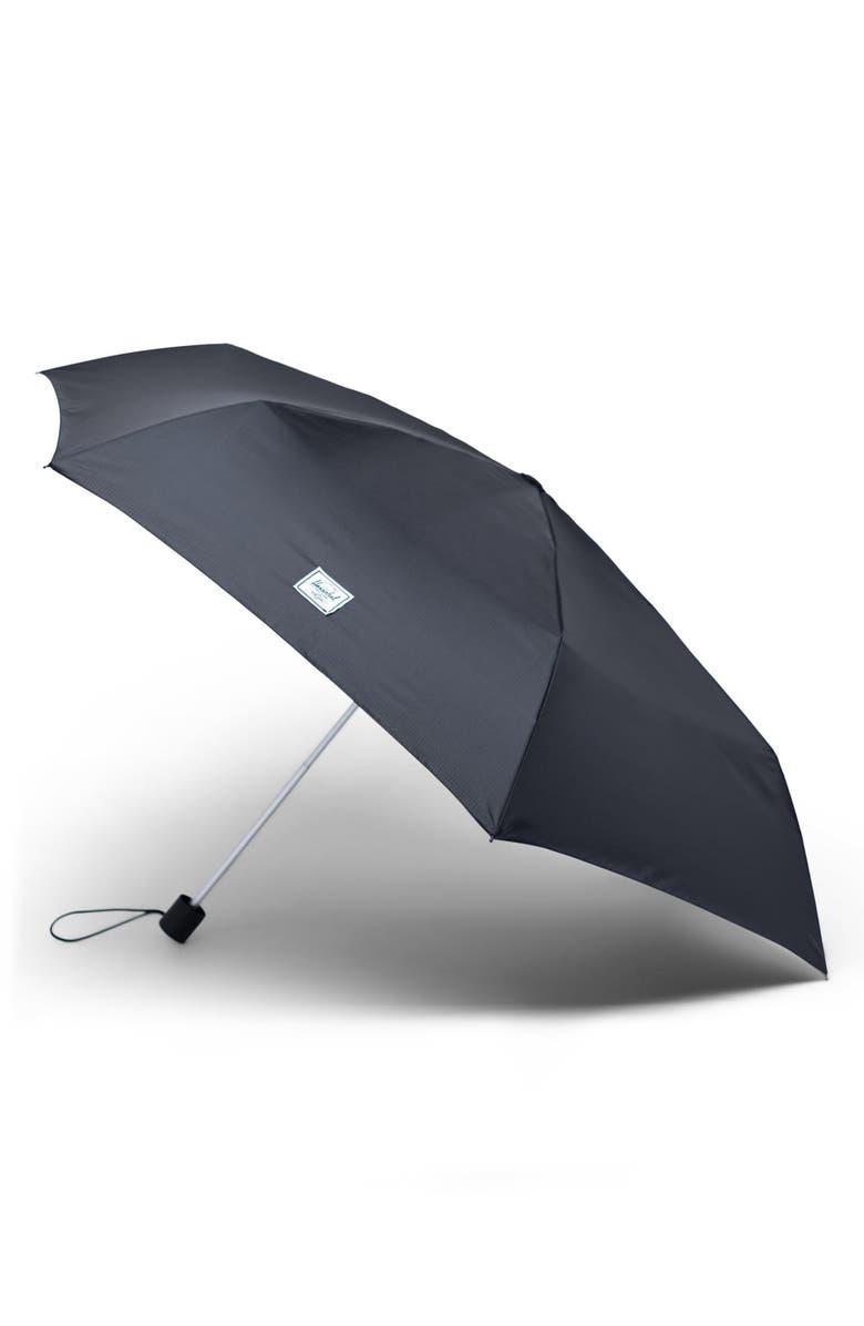 HERSCHEL SUPPLY CO. Voyage Triple Stage Umbrella, Main, color, BLACK/ BLACK