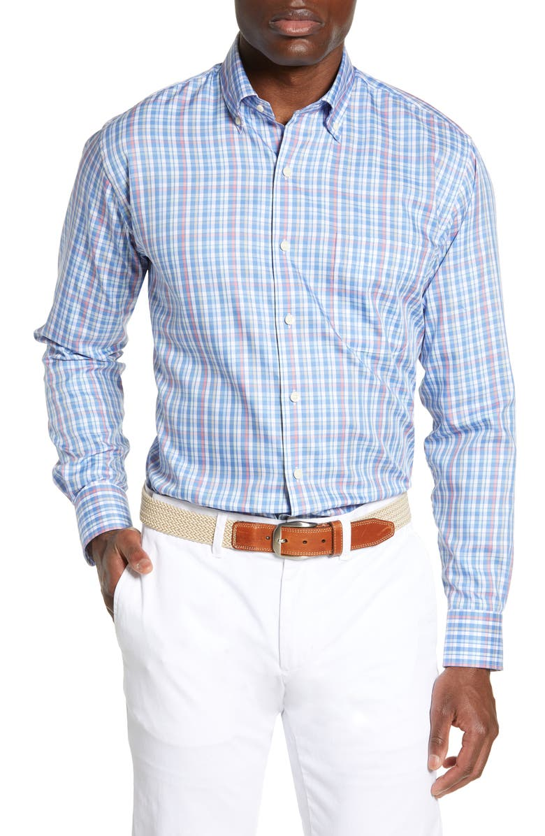 PETER MILLAR Plaza Classic Fit Check Sport Shirt, Main, color, 400