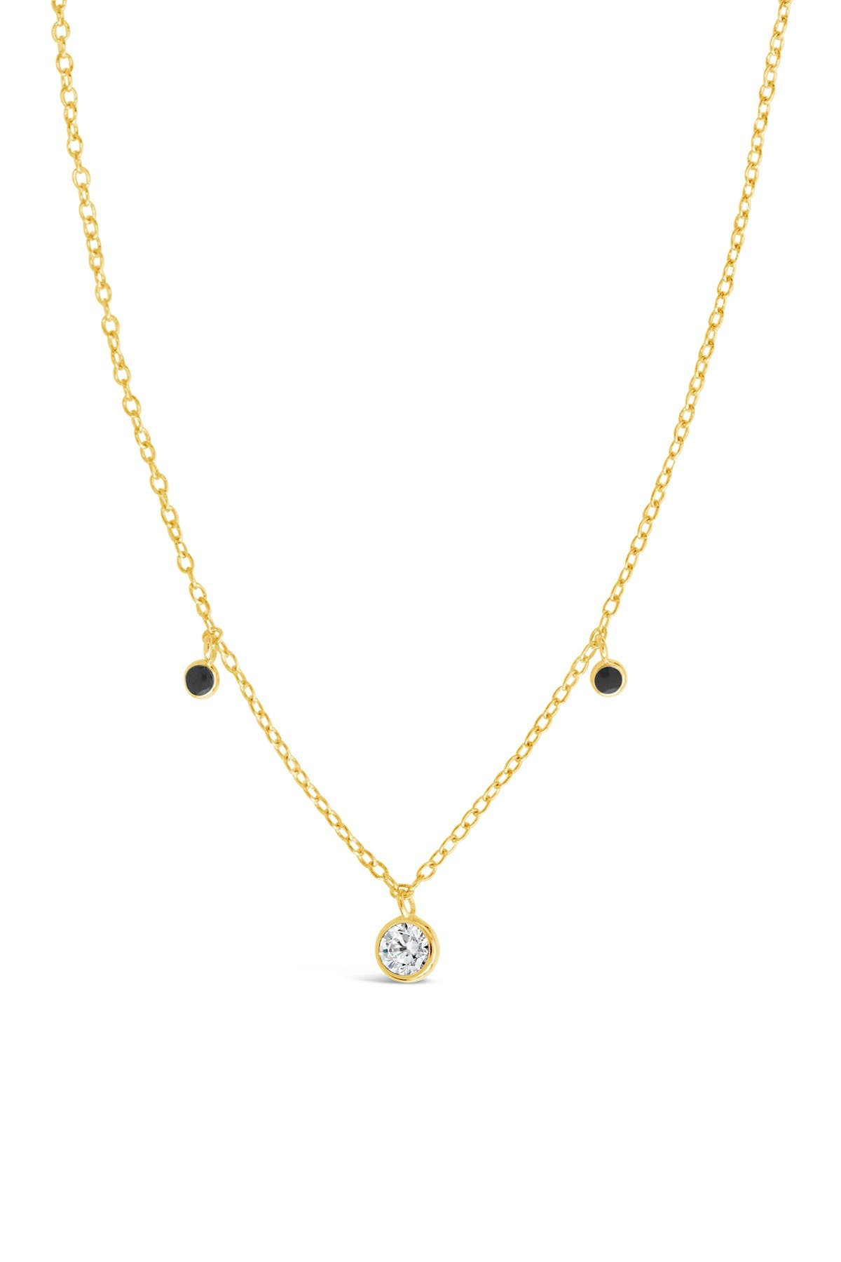 Image of Sterling Forever 14K Gold Vermeil Plated Sterling Silver Black Enamel & CZ Charm Necklace