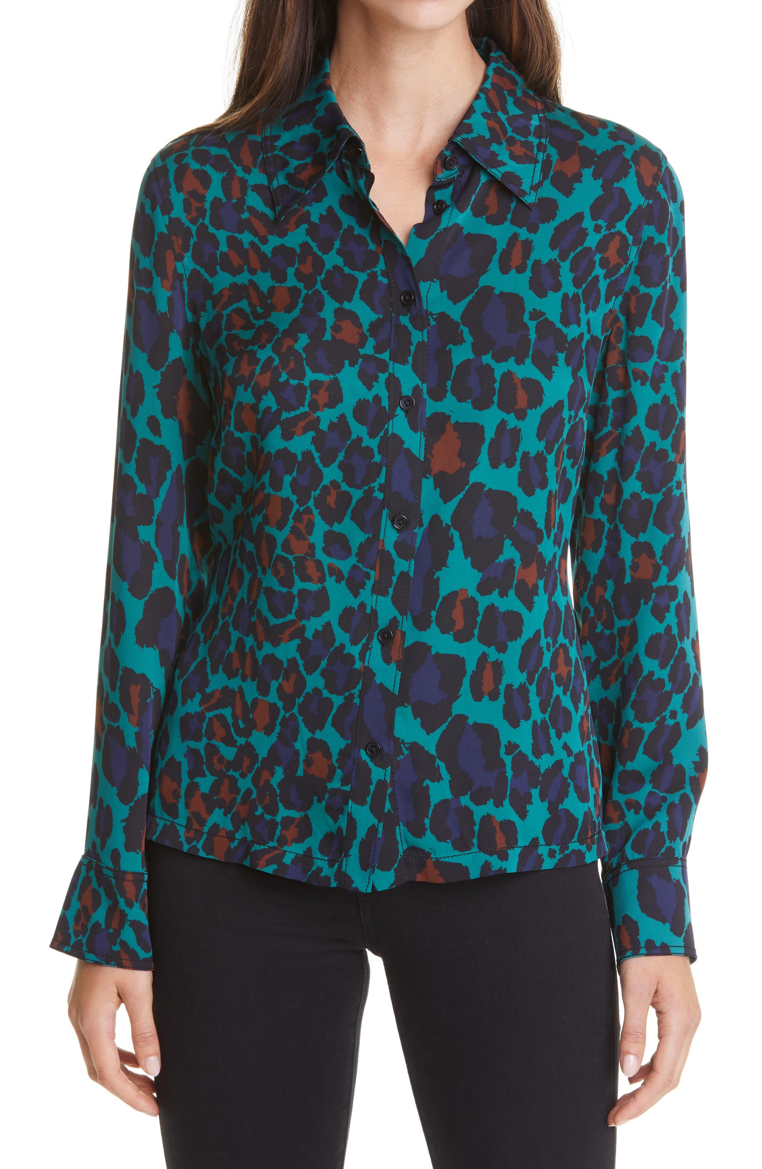 Women's Dvf Samson Leopard Blouse