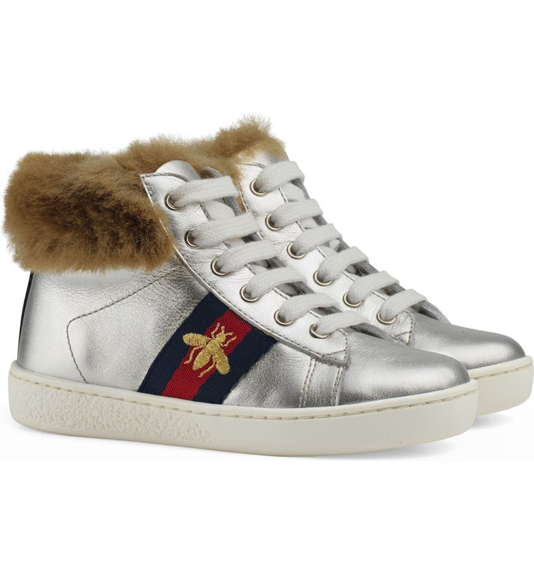 GUCCI New Ace Faux Fur Trim High Top Sneaker, Main, color, METALLIC SILVER