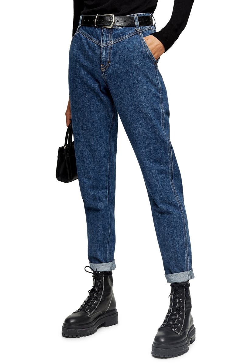 TOPSHOP V-Panel Mom Jeans, Main, color, INDIGO