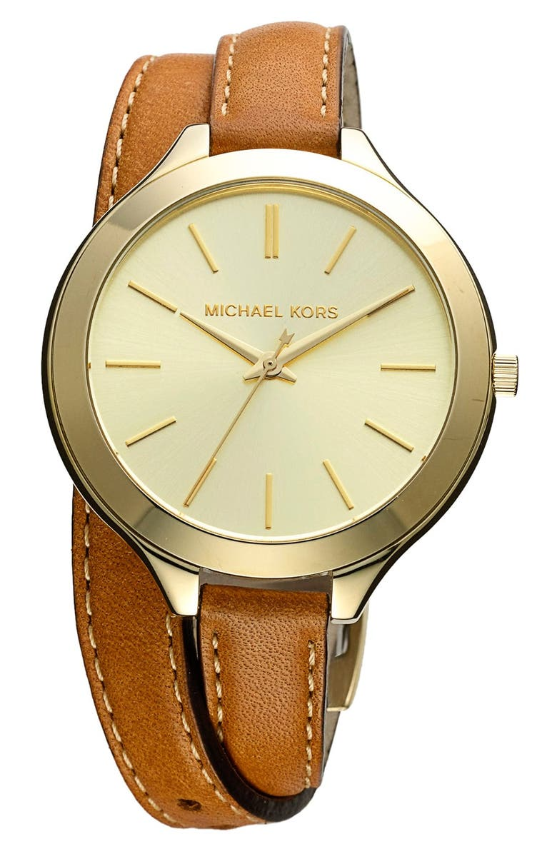 MICHAEL KORS Double Wrap Leather Strap Watch, 42mm, Main, color, 200