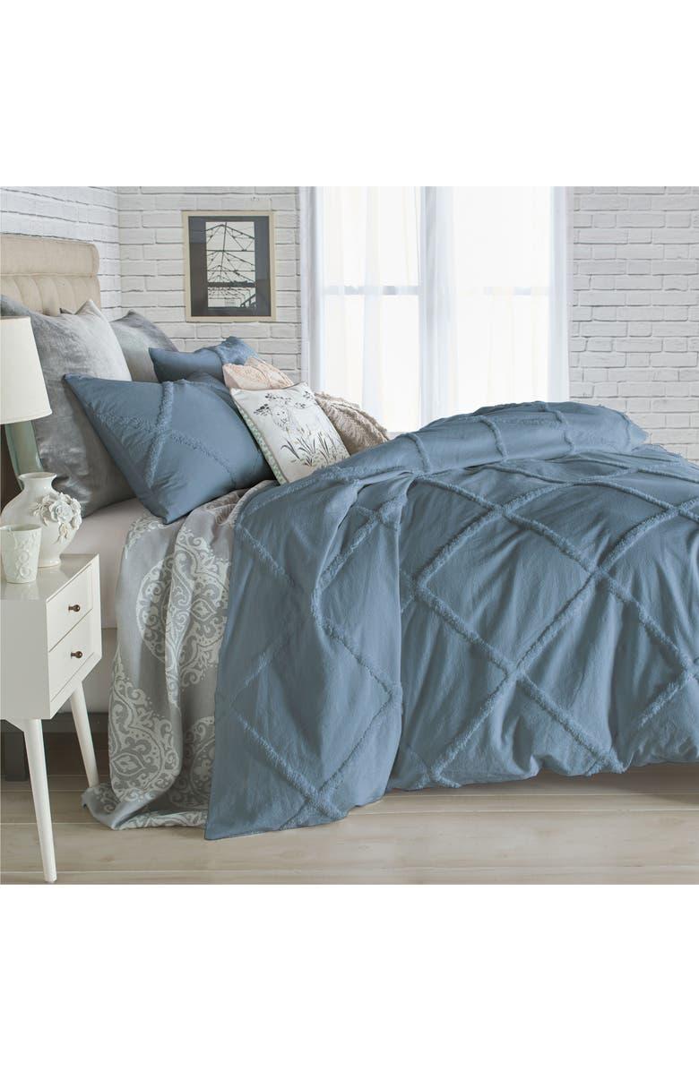 PERI HOME Chenille Lattice Duvet Cover, Main, color, TEAL