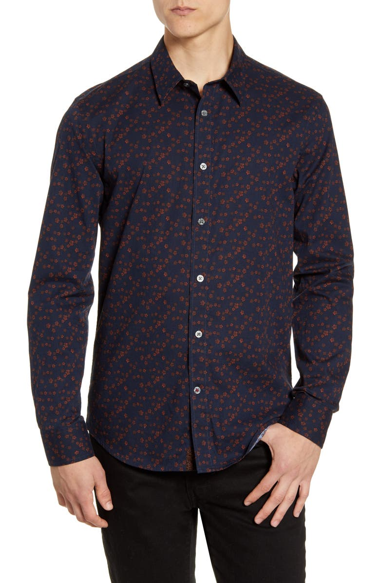 JOHN VARVATOS STAR USA Stevie Slim Fit Floral Button-Up Sport Shirt, Main, color, CHERRY