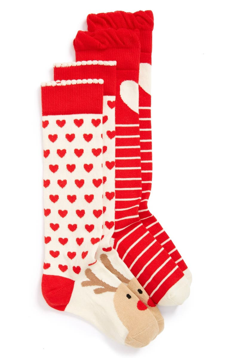 TUCKER + TATE 'Rudolph the Red Nosed Reindeer & Hearts' Knee High Socks, Main, color, 100