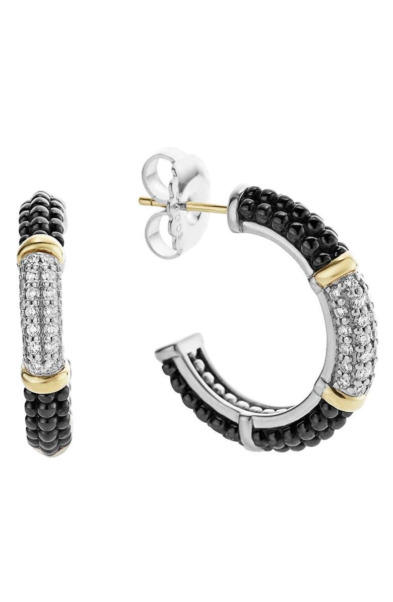 LAGOS 'Black & White Caviar' Diamond Hoops, Main, color, 001