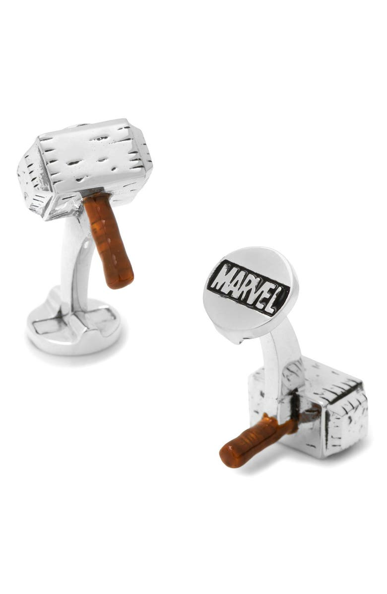 CUFFLINKS, INC. Marvel Thor Hammer Cuff Links, Main, color, SILVER MULTI