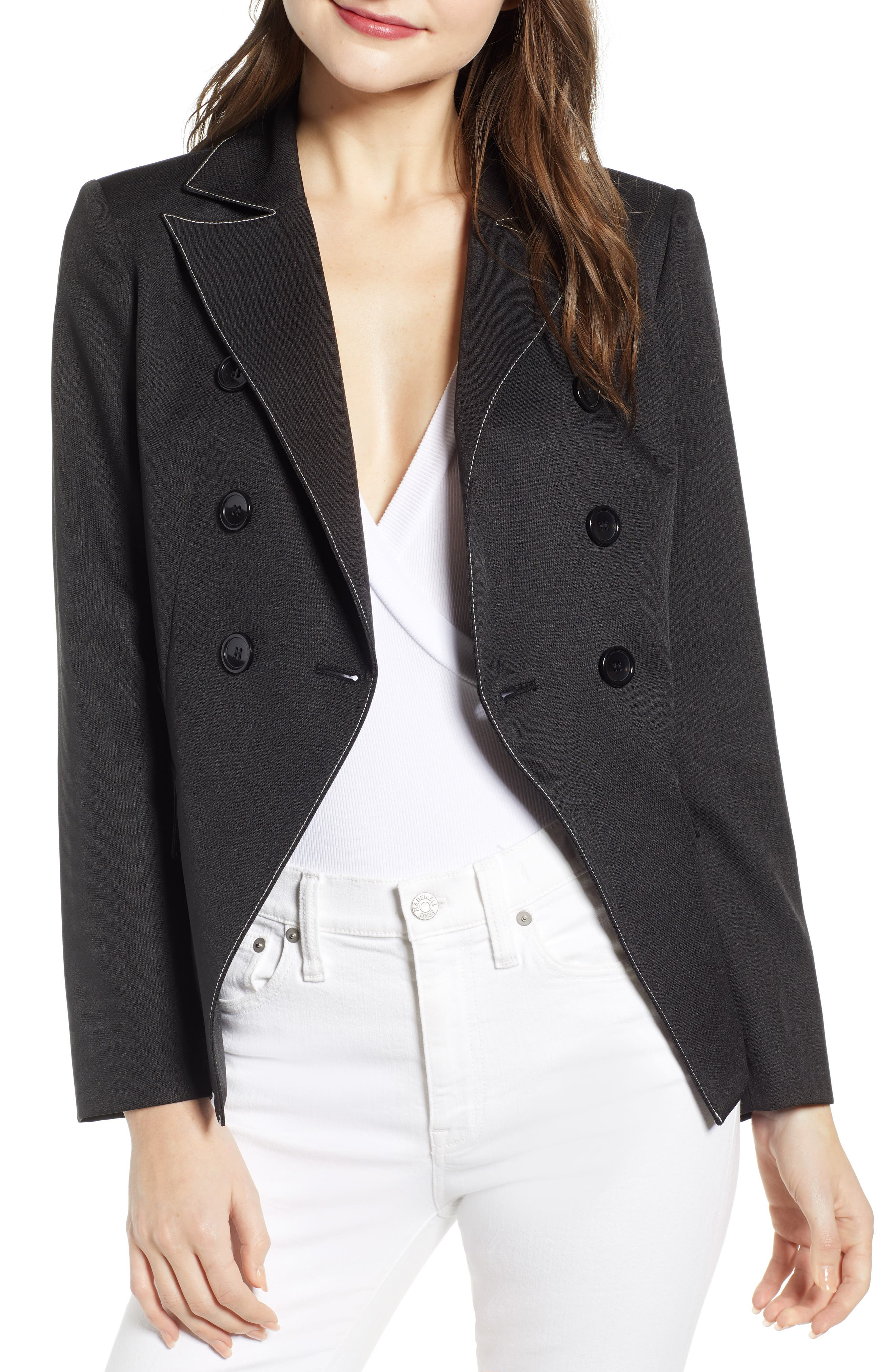 ,                             Contrast Stitch Double Breasted Blazer,                             Alternate thumbnail 5, color,                             BLACK