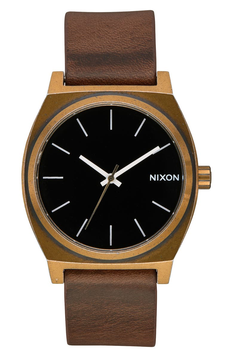 NIXON 'The Time Teller' Leather Strap Watch, 37mm, Main, color, BROWN/ BLACK/ BRASS