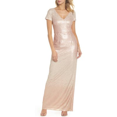 Adrianna Papell Ombre Sequin Column Gown, Pink