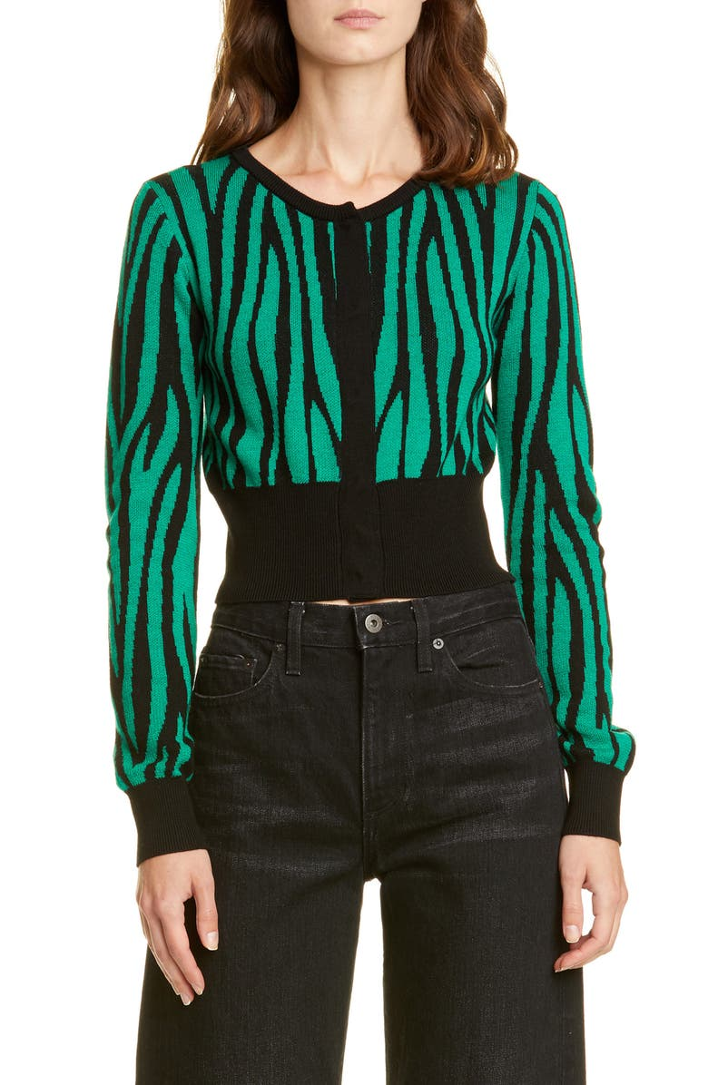 VICTOR GLEMAUD Tiger Stripe Crop Wool Cardigan, Main, color, GREEN AND BLACK PRINT