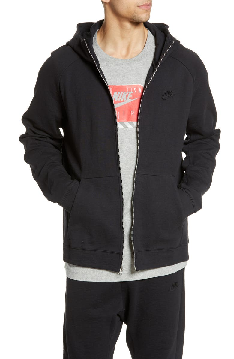 NIKE Tech Wash Full Zip Hoodie, Main, color, BLACK
