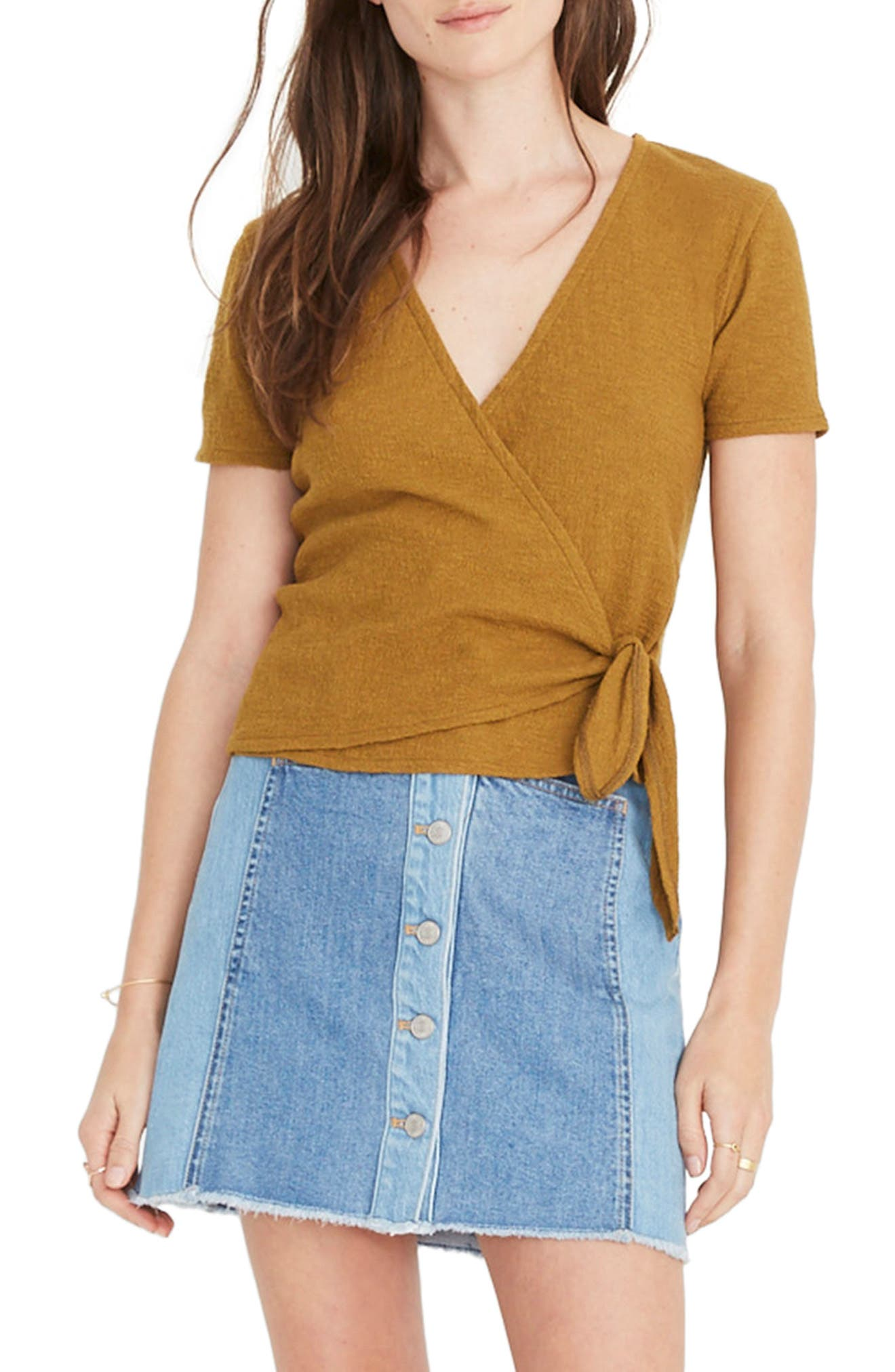 Texture & Thread Wrap Top, Main, color, DISTANT OLIVE