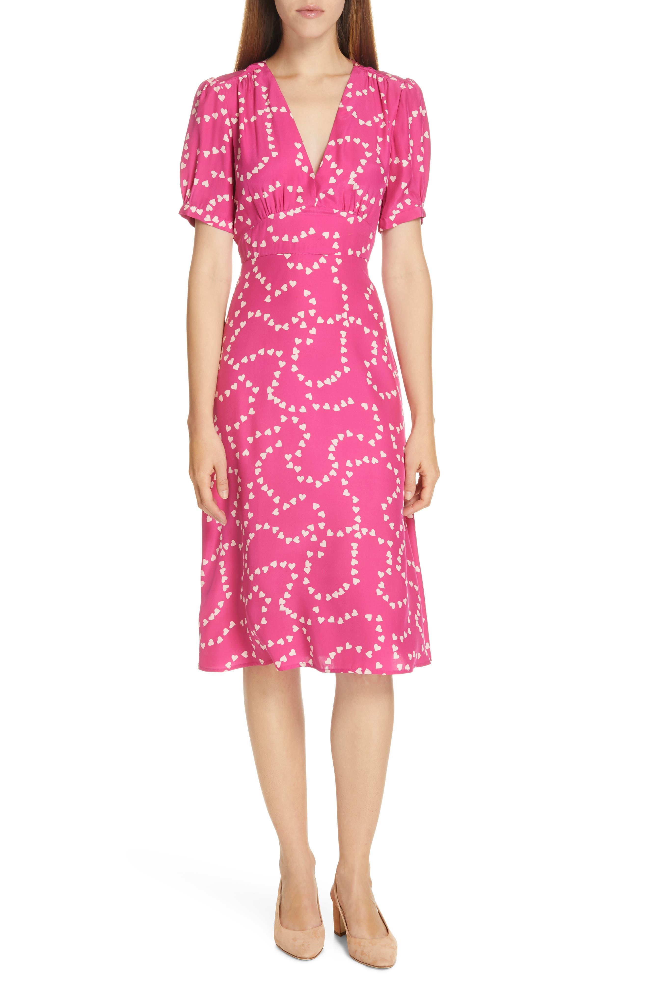 Hvn Paula Print Silk Dress, Pink