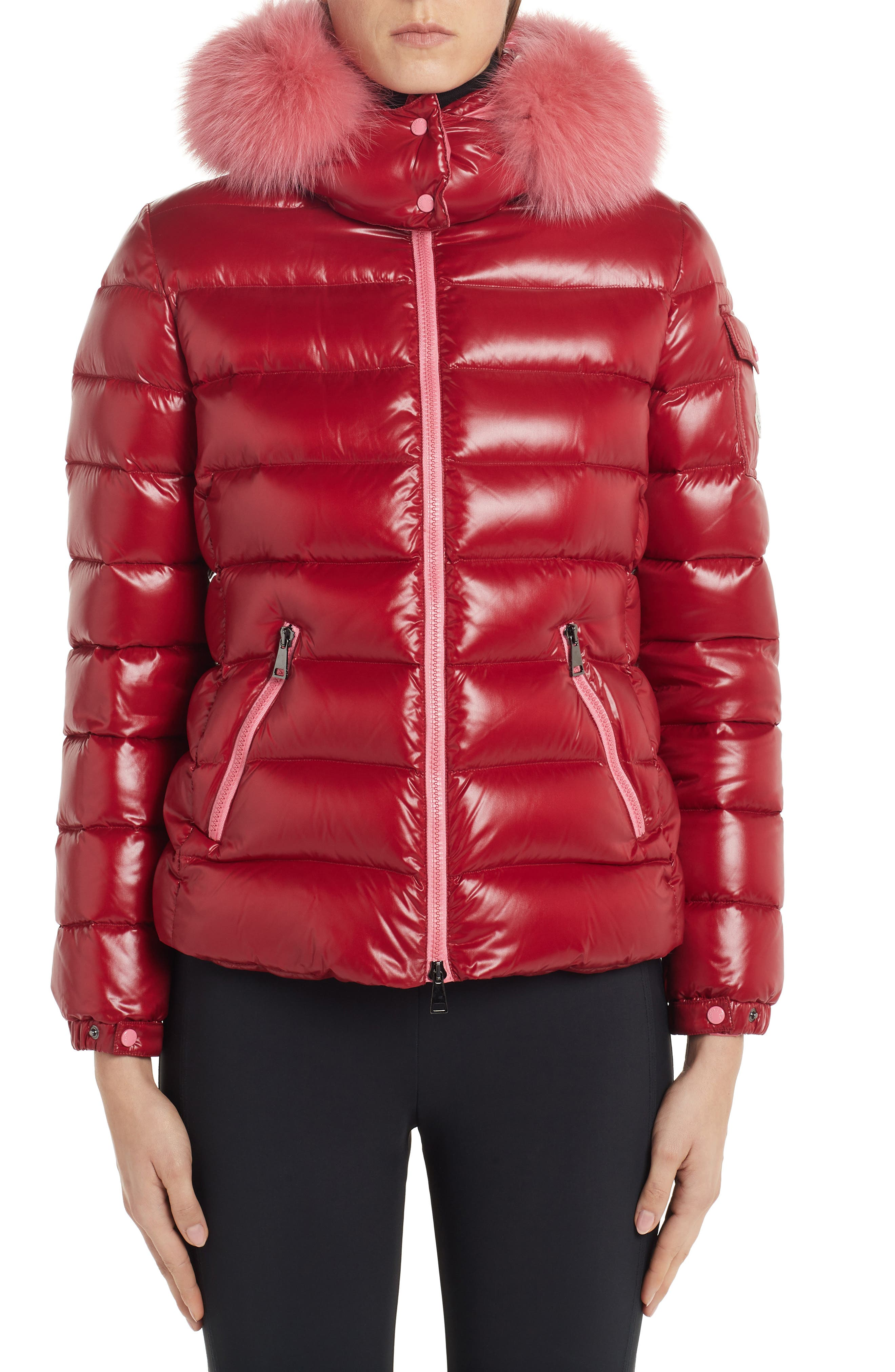 Moncler Badyfur Quilted Down Puffer Jacket With Removable Genuine Fox Fur Trim, Red