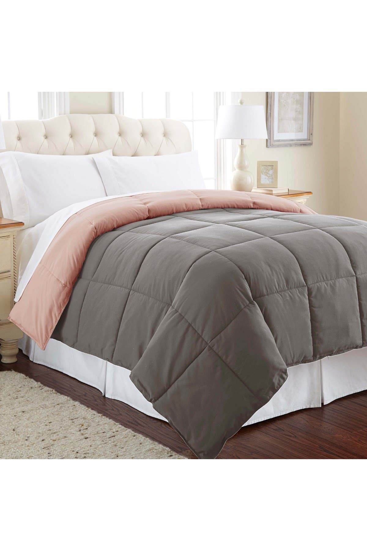 Image of Modern Threads Twin Down Alternative Reversible Comforter - Charcoal/Misty Rose