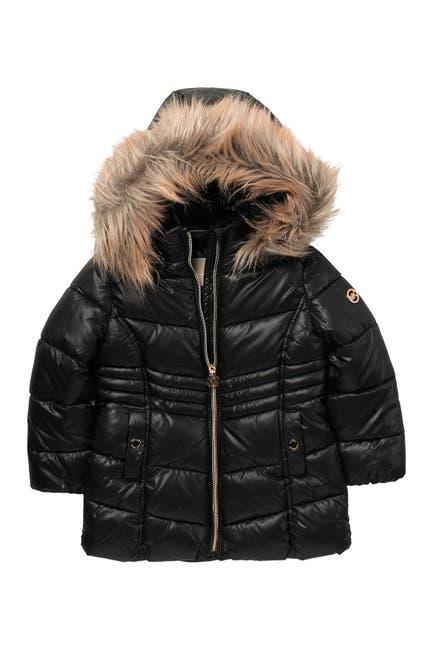 Image of Michael Kors Heavyweight Faux Fur Trim Stadium Puffer Jacket