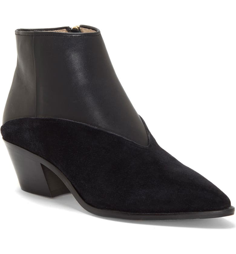 LOUISE ET CIE Vada Pointy Toe Bootie, Main, color, BLACK LEATHER/ SUEDE