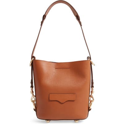 Rebecca Minkoff Small Utility Convertible Leather Bucket Bag - Brown