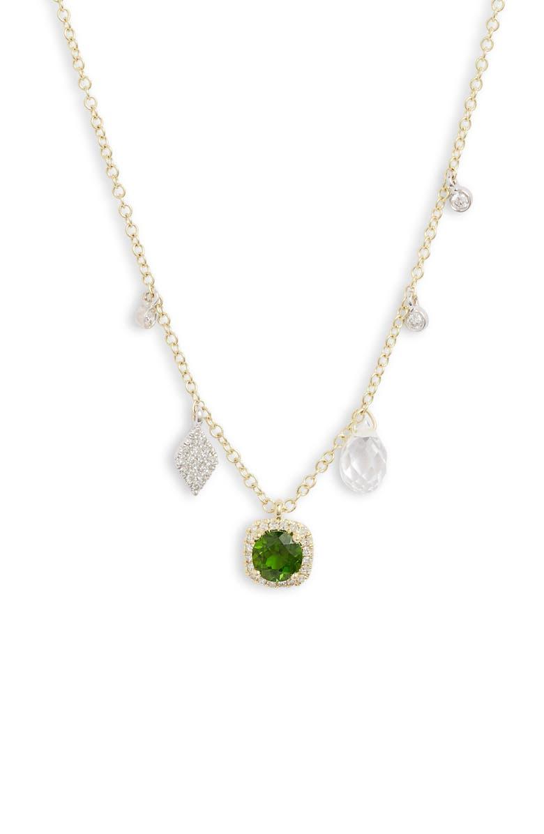 MEIRA T Tourmaline & Diamond Charm Frontal Necklace, Main, color, 710