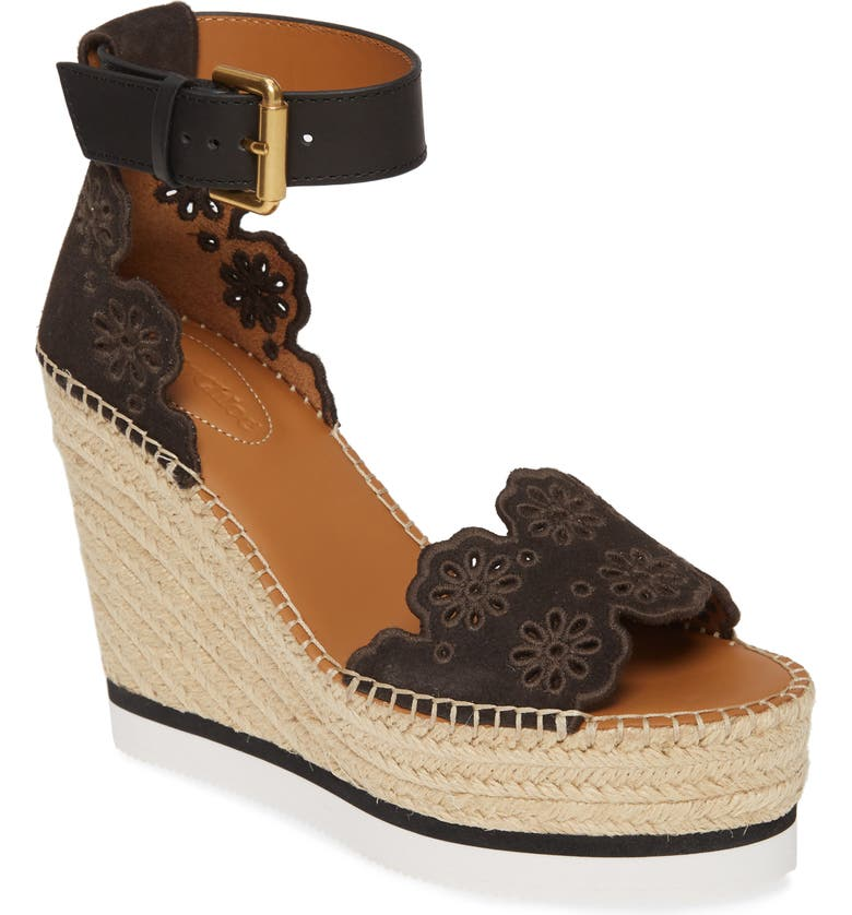 SEE BY CHLOÉ Glyn Platform Wedge Espadrille Sandal, Main, color, GRAFITE