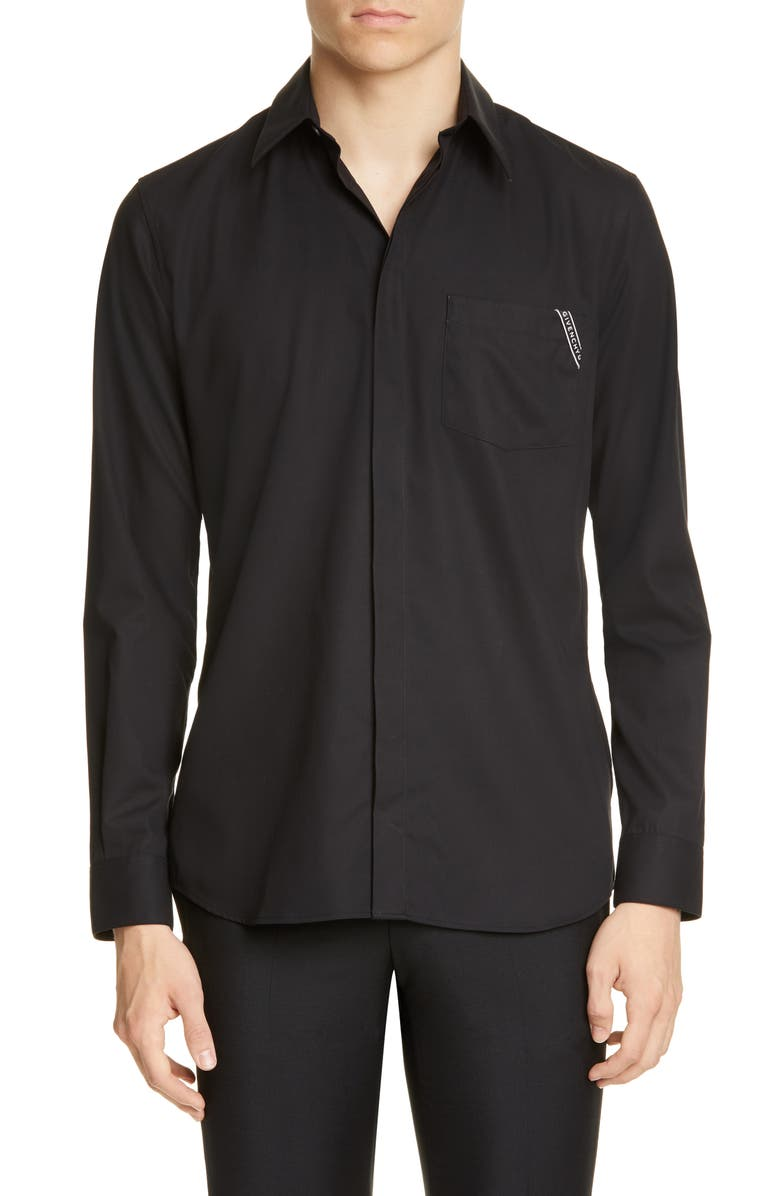 GIVENCHY Branded Pocket Button-Up Shirt, Main, color, BLACK