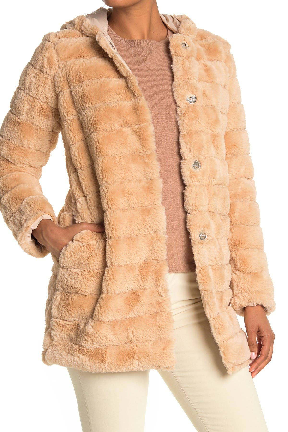 Kendall + Kylie Hooded Sheared Faux Fur Jacket In Nude