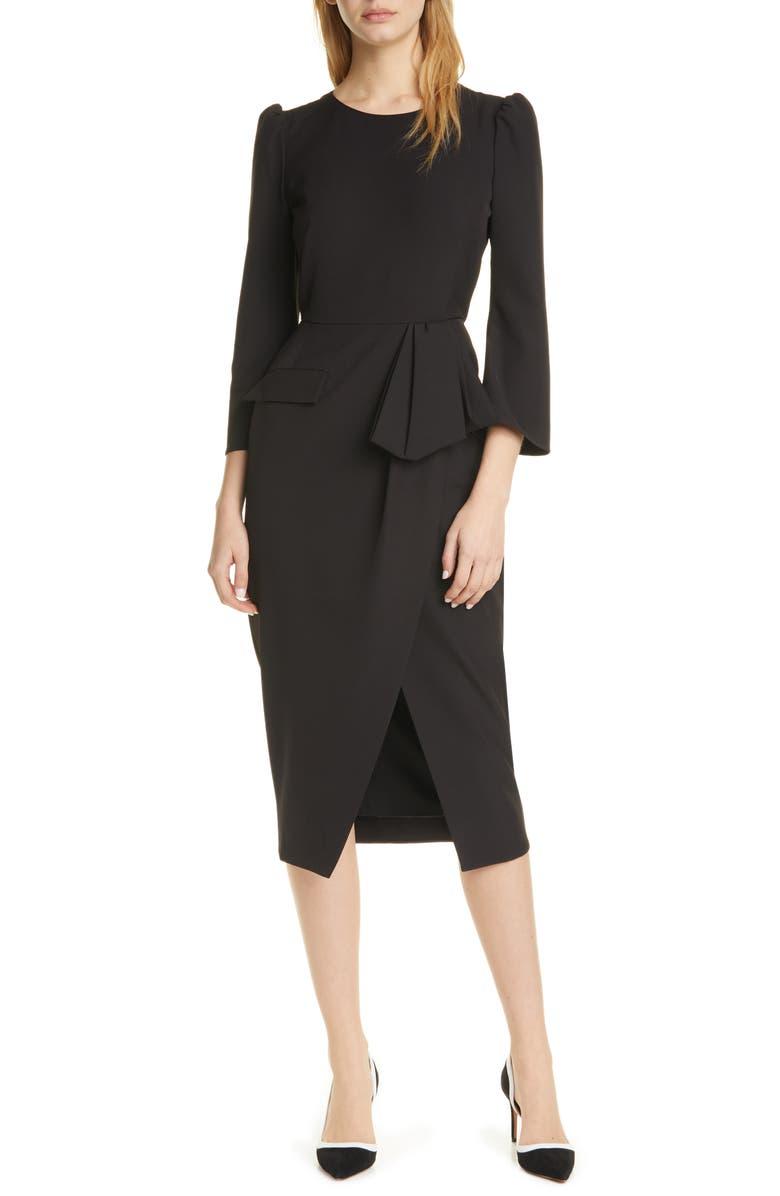 SALONI Valentine Puff Bell Sleeve Midi Dress, Main, color, BLACK