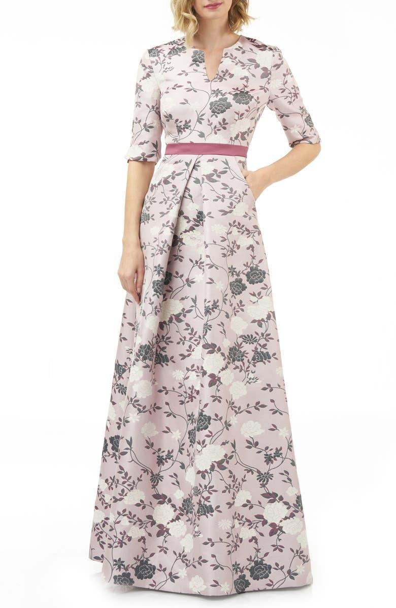 KAY UNGER Flower Jacquard Gown, Main, color, MAUVE/ WINE MULTI