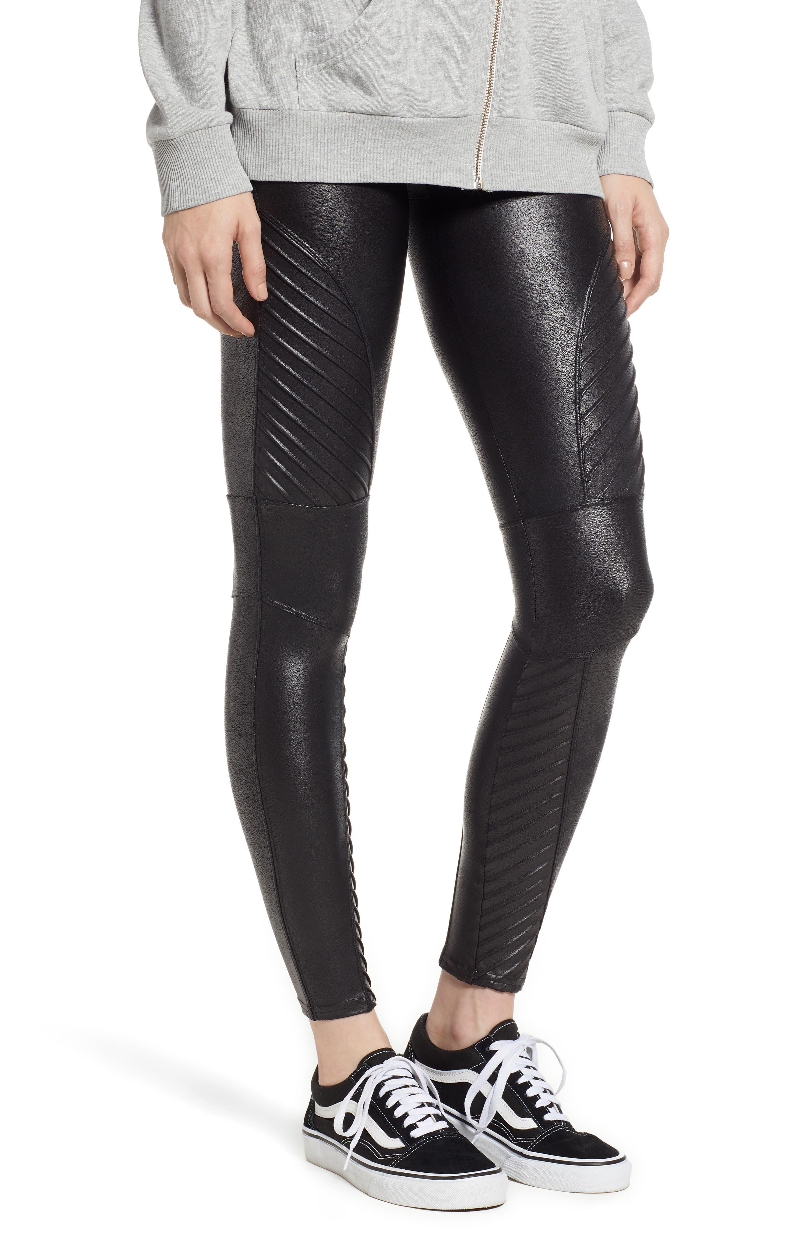 Petite Women's Spanx Faux Leather Moto Leggings