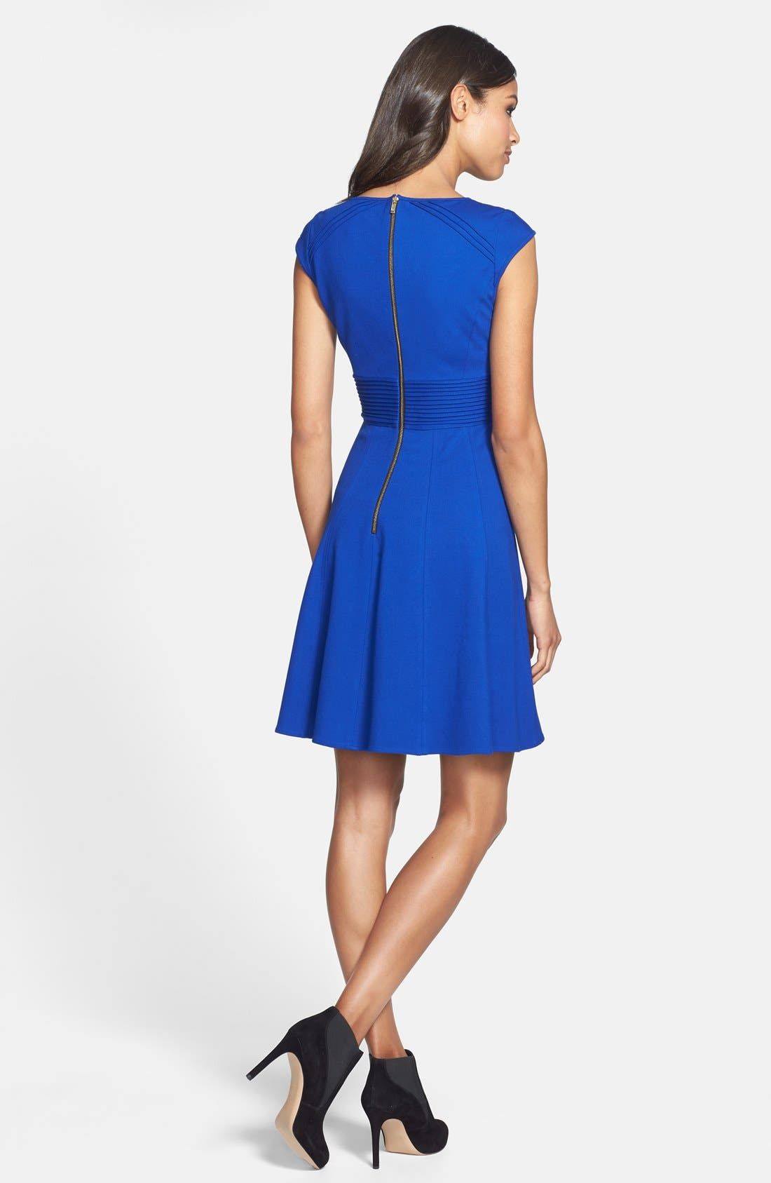 ,                             Pintucked Waist Seamed Ponte Knit Fit & Flare Dress,                             Alternate thumbnail 21, color,                             430