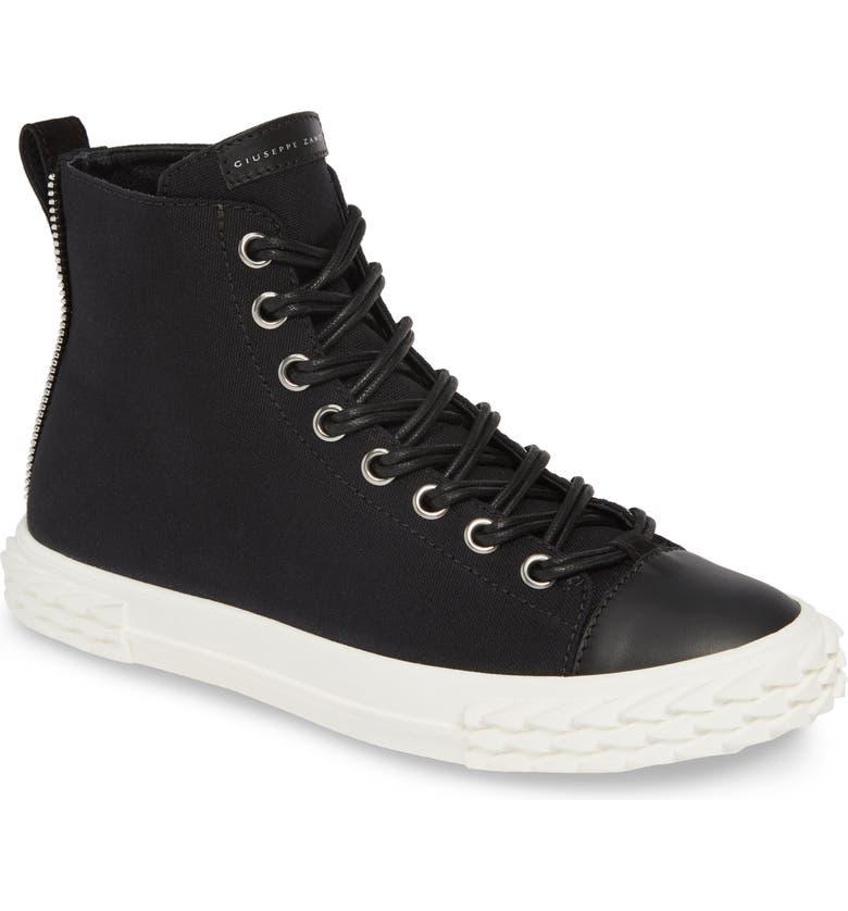 GIUSEPPE ZANOTTI Mid Top Double Lace Sneaker, Main, color, NERO/ BLACK