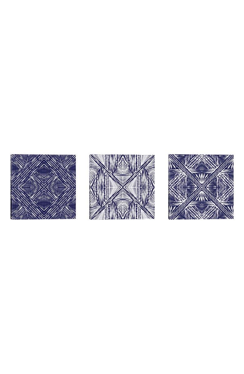 ICANVAS Inky Kaleidoscope Giclée Print Framed Canvas Triptych, Main, color, PURPLE