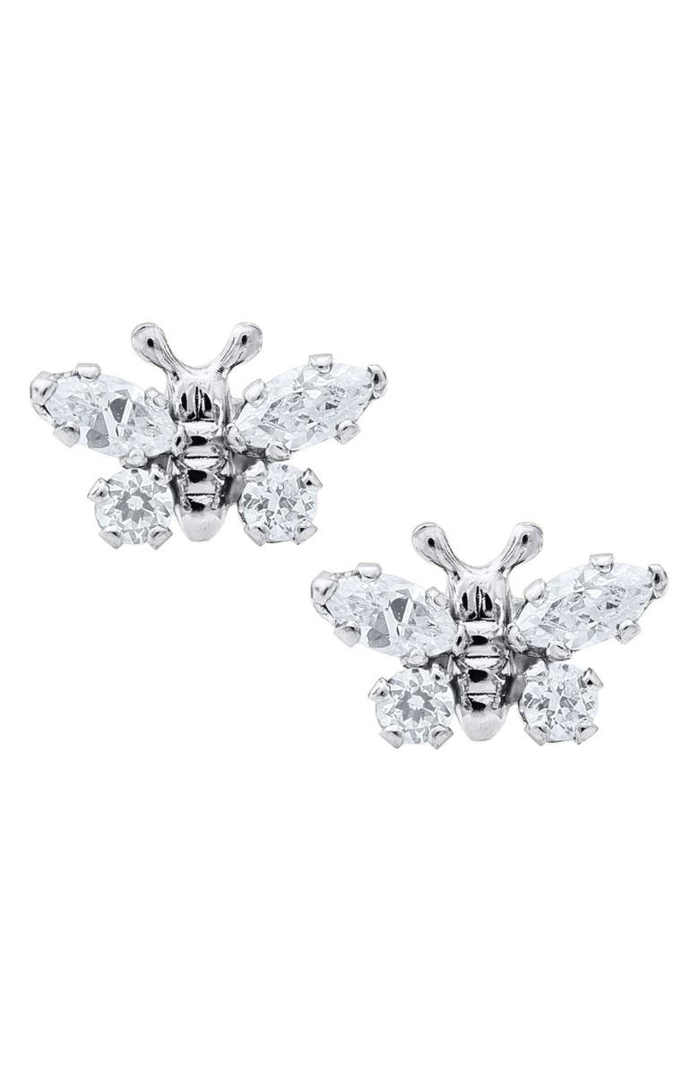 MIGNONETTE Butterfly Birthstone Sterling Silver Earrings, Main, color, APRIL