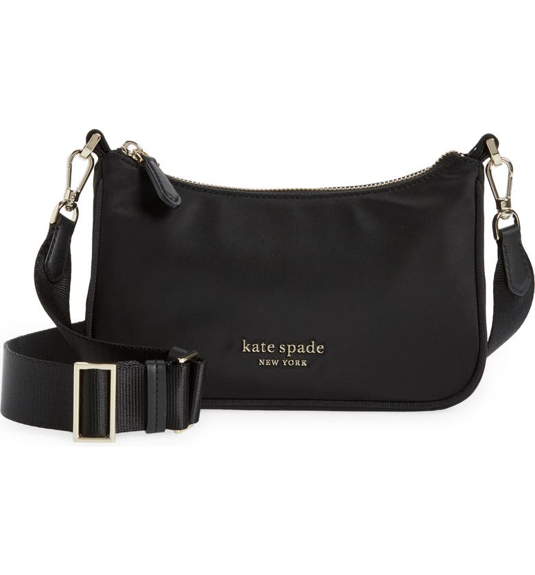 KATE SPADE NEW YORK sam the little better nylon crossbody bag, Main, color, BLACK