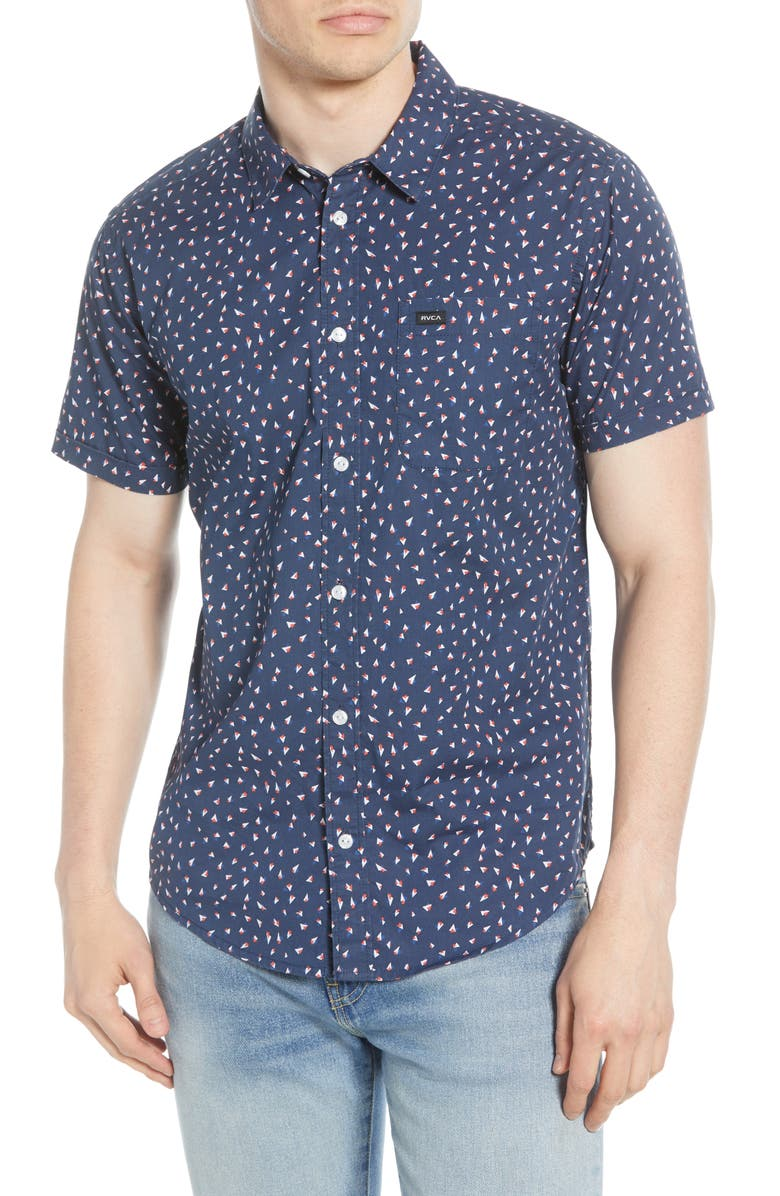 RVCA Triangle Geo Woven Shirt, Main, color, NAVY